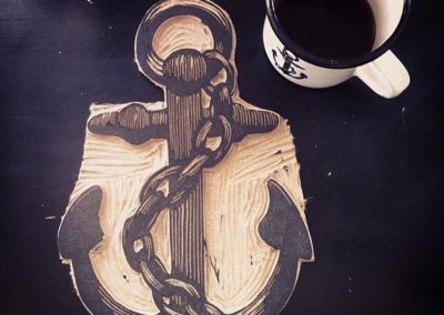 1 LC lino cut anchor on mug